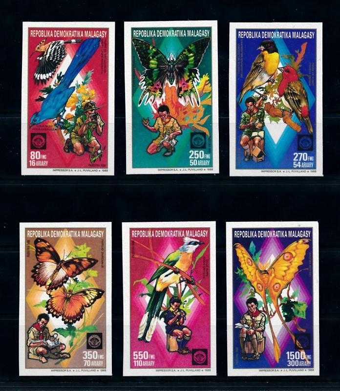 [95953] Madagascar Malagasy 1988 Birds Butterflies Scouting Imperforated MNH