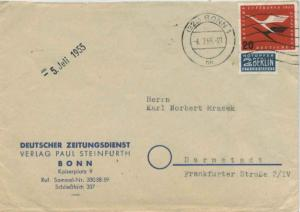 Germany 20pf Re-opening of German Air Service with 2pf Berlin Postal Tax 1955...
