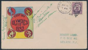 #718 JUNE 15,1932 OLYMPIC GAMES ON ROESSLER FDC CACHET CV $150 BU2427