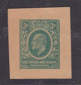 East Africa and Uganda 3c Edward VII Postal Stationary Cutout VGC