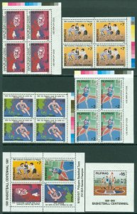 EDW1949SELL : PHILIPPINES 1991 Sc #2121-2125, 2124a Basketball Blks of 4 & 2 S/S