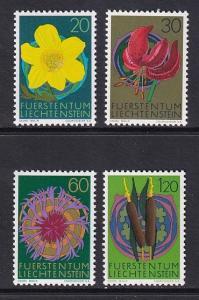 Liechtenstein  #500-503   MNH  1972  flowers