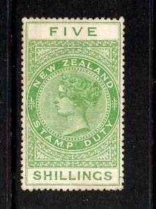 NEW ZEALAND  1882-27 5/-   QV  REVENUE  MLH   P14 1/2x14  SG F115