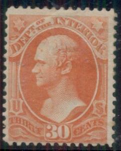 US #O23 30¢ Interior, og, LH, Miller certificate, Scott $290.00
