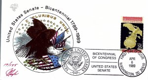 Pugh Designed/Painted U.S. Senate Bicentennial FDC...17 of 155 created!