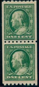 US Scott #390PR Mint, XF/S (J), Hinged, Paste Up Pair