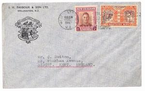 New Zealand ADVERT Cover 1947 *WELLINGTON* Crest Unusual KGVI {samwells} GU269