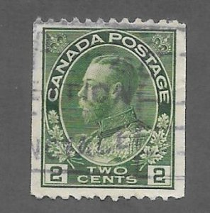 Canada Scott #133 Used 2c King George V Horizontal Coil  2018 CV $75.00