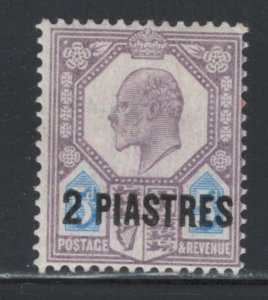 Great Britain Offices Turkish Empire 1906 Surcharge 2pi Scott # 14 MH