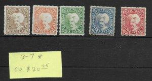 India Sirmoor #3-7 MH - Stamp Set - CAT VALUE $20.25