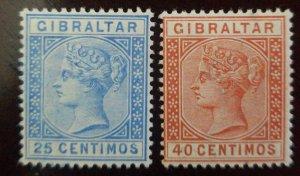 O) 1889 GIBRALTAR, QUEEN VICTORIA, SCT 32 25c ultra, SCT 26 40c orange brown, MI
