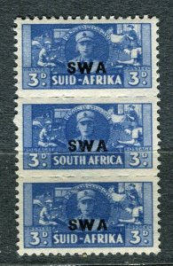 SOUTH WEST AFRICA; 1941 early Small War Effort issue 3d. Mint strip