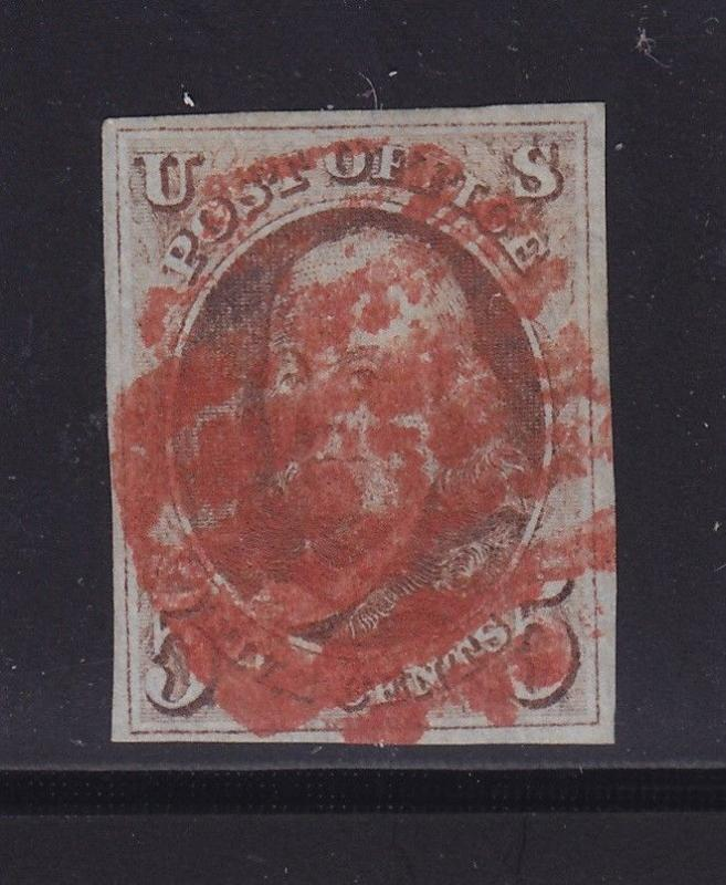 1 VF-XF used neat Bold Red cancel with nice color cv $ 400 ! see pic !