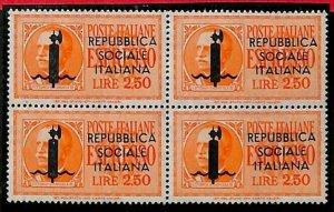 94679a - ITALIA RSI - FRANCOBOLLO Sass # 22 VR quartina - Nuovo NON  Linguellato