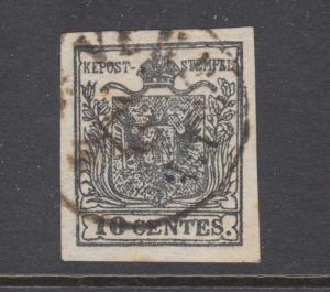 Lombardy-Venetia Sc 3a used. 1860 10c gray black Coat-of-Arms, fresh, sound, VF