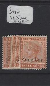ZANZIBAR  (PP0809B) QV ON INDIA 3A     SG  10 X 5      ASST  MOG