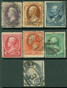 EDW1949SELL : USA 1887 Scott #212-18 Used. Small faults. Catalog $410.00.