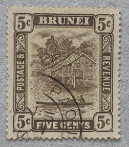 Brunei scarce PAQUETBOAT cancel on 1933 5c issue.  Scott 51, SG 68