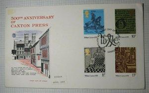 GB FDC 1976 Set Caxton Press 500th Benham Hythe Kent Cachet Stuart 794-797