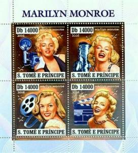 St Thomas 2006 Marilyn Monroe 4 Silver Foil Stamp Sheet #1637 ST6404as
