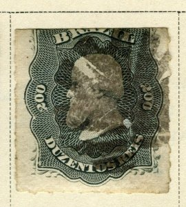 BRAZIL; 1876 early classic Pedro issue fine used 200r. value