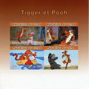 Chad Disney Stamps 2020 MNH Tigger & Winnie the Pooh Eeyore Cartoons 4v IMPF M/S