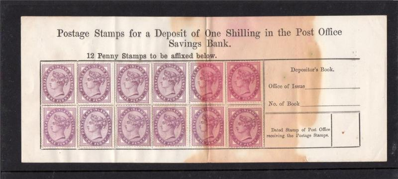 1d LILACS x12 ON POST OFFICE SAVINGS BANK FORM
