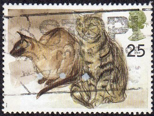 Great Britain 1587 - Used - 25p Siamese Cat / Grey Tabby (1995) (cv $0.60)