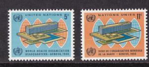 UN - NY # 156-157, WHO Headquarters, Mint NH, 1/2 Cat.