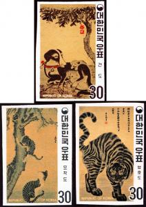 Korea 718-20 imperf mnh 1970 Korean paintings