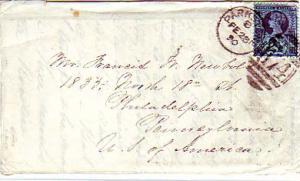 Great Britain 2 1/2d QV Jubilee 1890 Parkstone 174 duplex to Philadelpia, Penn.