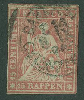 Switzerland SC# 38  Seated Helvetia 15r,  Cancelled