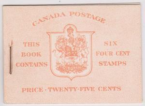 Canada USC #BK36e 4c Dark Carmine Pane of Six in Complete English Booklet