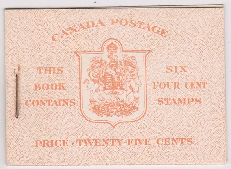 Canada USC #BK36e 4c Dark Carmine Pane of Six in Complete English Booklet