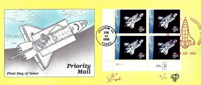 RARE Pugh Designed/Painted Challenger Priority Mail FDC...3 of ONLY10 created!!