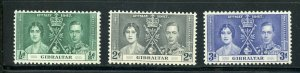GIBRALTAR CORONATION OF GEORGE VI 1937 SC# 104-6 MINT NH AS SHOWN