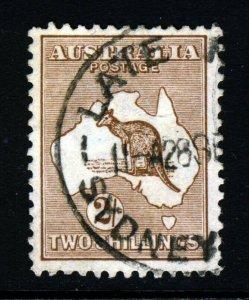 AUSTRALIA 1916 'Roo Two Shillings Brown Die II Wmk Narrow A  Perf 12 SG 41 VFU