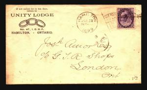 Canada 1899 Unity Lodge Cacheted Cover - Z15370