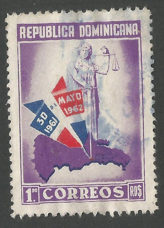 DOMINICAN REPUBLIC 564 VFU MAP Z924-5