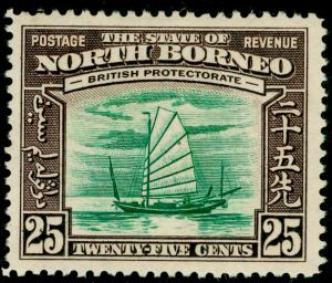 NORTH BORNEO SG313, 25c green & chocolate, LH MINT. Cat £45