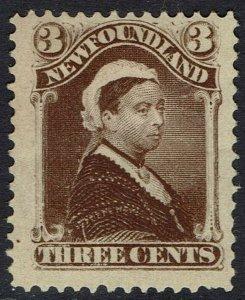 NEWFOUNDLAND 1887 QV 3C DEEP BROWN