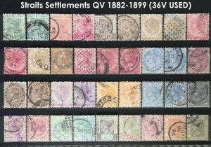 MALAYA1883 Straits Settlements QV 1c-96c CA shades & varieties USED M2907