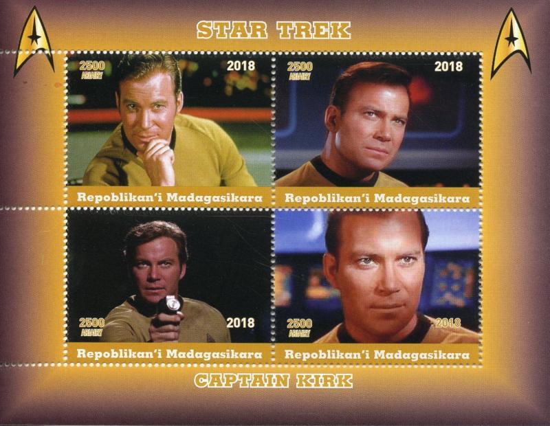 Madagascar 2018 MNH Star Trek Captain Kirk William Shatner