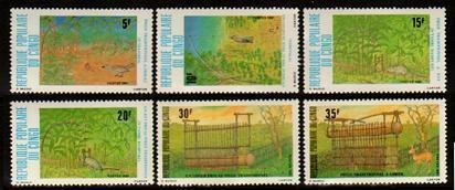 HERRICKSTAMP CONGO Sc.# 596-601 Animals and Traps, Birds Wholesale Lot
