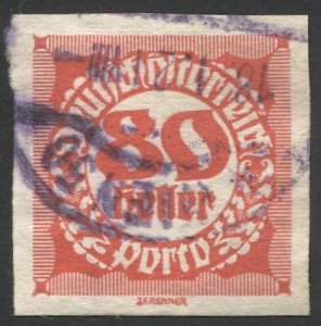 AUSTRIA 1920  Sc J101  80h Imperf Postage Due Used, VF Vienna cancel