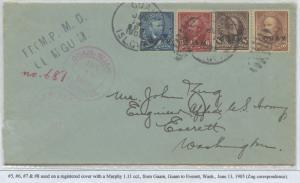 GUAM #5-8 ON REGISTERED COVER JUNE 13,1905 CV $1,375 BS8433 HS108G