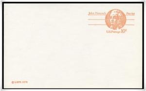 SC#UX75 10¢ John Hancock: Patriot Postal Card Mint