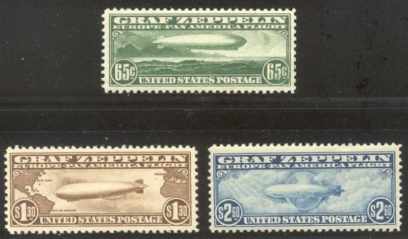U.S. #C13-15 CHOICE Mint VF NH Set - 1930 Graf Zeppelins