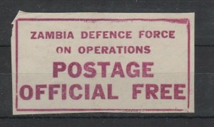 Zambia Defence Force on Operations Postage Official Free NG  -SR