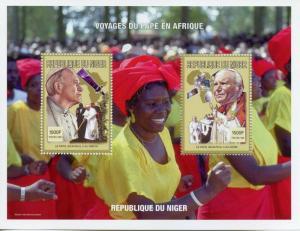 Niger 1998 MNH Pope John Paul II Africa Visits 2v M/S Satellites Popes Stamps